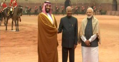 सऊदी अरब के क्राउन प्रिंस मोहम्मद बिन सलमान को राष्ट्रपति भवन में गार्ड ऑफ ऑनर दिया गया